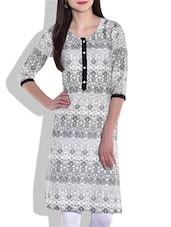 White And Grey Printed Cotton Kurti - By