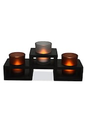 Set Of 3 Tea Light Holders With Decorative Tray - By
