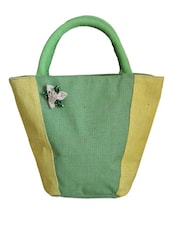 Stylish Green And Yellow Jute Handbag - Earthen Me