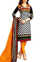 black and white printed cotton unstitched suit set -  online shopping for Unstitched Suits