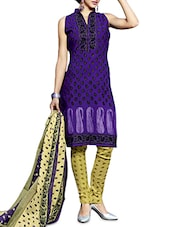 Purple Printed Cotton Unstitched Suit Set - By