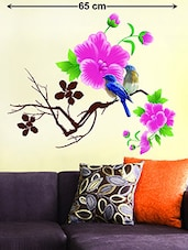 Wall Decals Living Room Design Blue Birds with Pink Flowers -  online shopping for Wall Decals & Stickers
