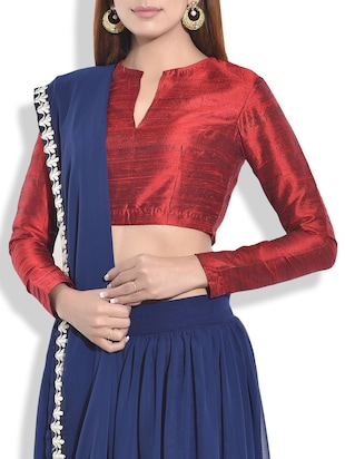 Solid maroon raw silk blouse