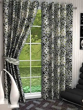 Set Of 2 Off White And Black Long Door Curtains - By