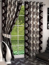 Set Of 4 Ivory And Black Long Door Curtains - By