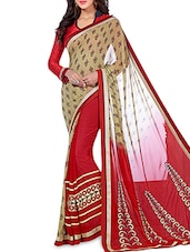 Red And Beige Printed  Georgette Saree - By