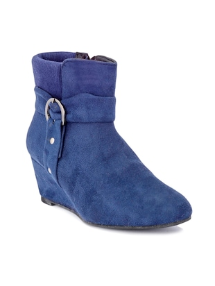 Blue Suede Buckled Wedge Boots