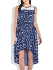 Navy Blue Lace Yoke High/Low Dress - By