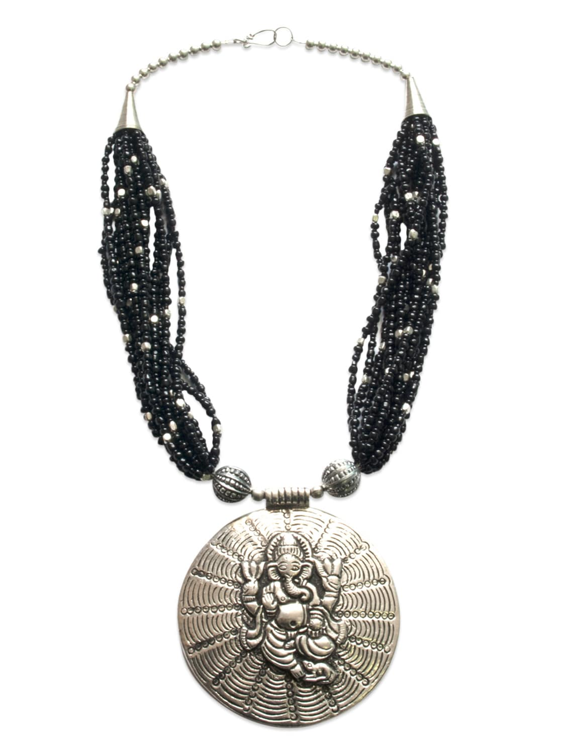 Silver And Black Beaded Ganesha Necklace - By