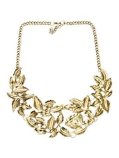 Gold Leaf In Spired Statement Necklace - By
