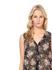 Sheer Black Floral Sleeveless Top - By