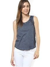 Grey Laced Sleeveless Cotton Top - By