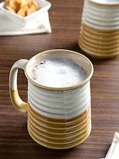 Off White And Brown Ceramic Studio Beer Mug Set - By