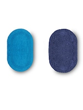 Set Of 2 Navy And Sky Blue Oval Reversible Cotton Doormats - By