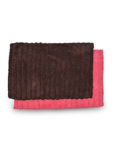 Set Of 2 Brown And Pink Rectangular Ribbed Cotton Doormats - By