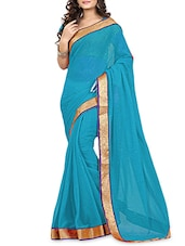 Sky Blue Chiffon Saree With Gold Border - By