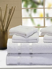 Set Of 6 Solid White Cotton Towels - By