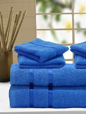 Set Of 6 Solid Blue Cotton Towels - By