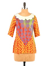 Peter Pan Collar Yellow& Red Georgette Top - Fashion 205
