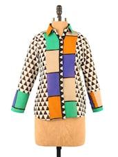 Geometric Print Blue & Green Georgette Top - Fashion 205