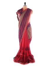 Red Printed Georgette Saree - Saraswati