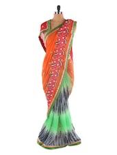 Orange And Green Printed Saree - Saraswati