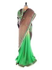 Brown And Green Brasso Saree - Saraswati