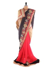 Luxe Red And Black Georgette Saree - Saraswati