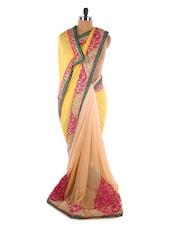 Chic Yellow And Peach Georgette Saree - Saraswati