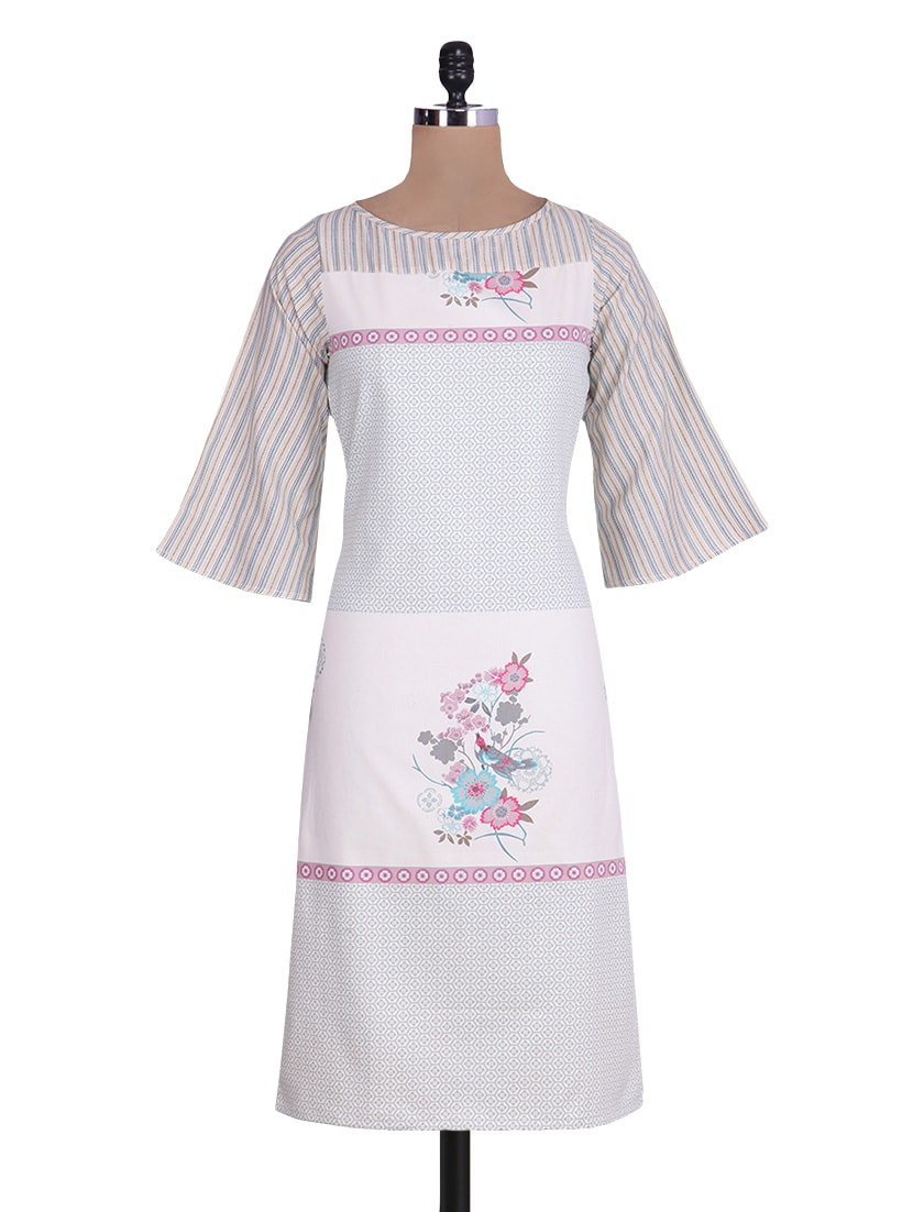 Off White Floral Printed Bell Sleeved Cotton Kurta - By