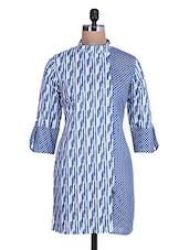 White And Blue Multi Printed Cotton Kurti - By