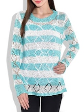 Sky Blue And White Striped Acrylic Sequined Pullover - By