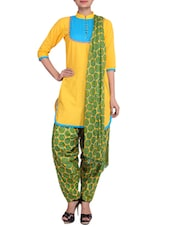 Yellow Printed Stitched Cotton Patiala Suit Set - By