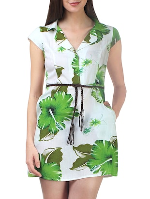 white and green floral printed rayon shirt dress