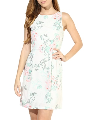 white floral printed knife pleated dress