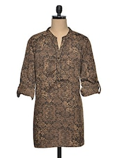 Brown  Polyester Plus Size Floral Tunic - Oxolloxo