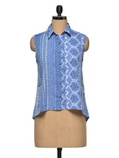Blue Printed Polyester Shirt - Oxolloxo