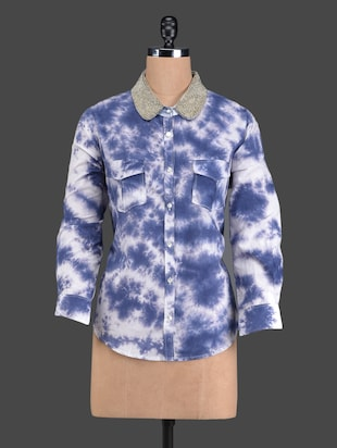 Blue & white printed cotton shirt