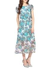 Blue Floral Printed Georgette Long Dress - By