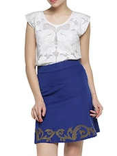 Elegant Royal Blue High-Waisted Skirt - Aaliya Woman