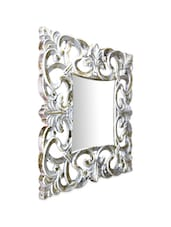 Grey Carved Wood Square Mirror Frame - Inspired Livingg