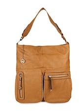 Brown Leatherette Hobo Bag - By