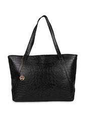 Black Leatherette Tote Bag - By