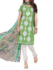 Green And White Embroidered Unstitched Suit Set - By
