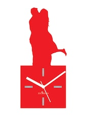 Red  Wooden Clock Kiss Me Red - Zeeshaan