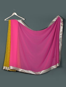 Yellow  Pink Georgette Designer Party Wear Saree - Aakriti