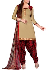 Beige Colour Cotton Printed Unstitched Dress Material - By