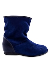 Blue Faux Leather Boots - By