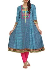 Printed Blue Cut And Sew  Cambric Long Kurta - Aaboli