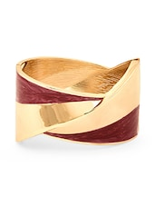 Gold And Maroon Metal Alloy Bracelet - By